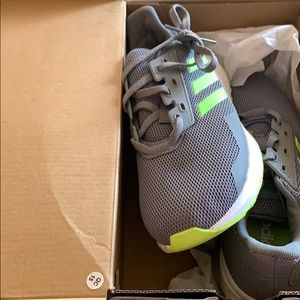 New adidas foam cloud neon green running shoe